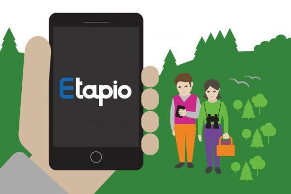 Etapio-mobiilisovelluksen logon, ilmeen, nettisivujen & mark.materiaalien Design & Toteutus